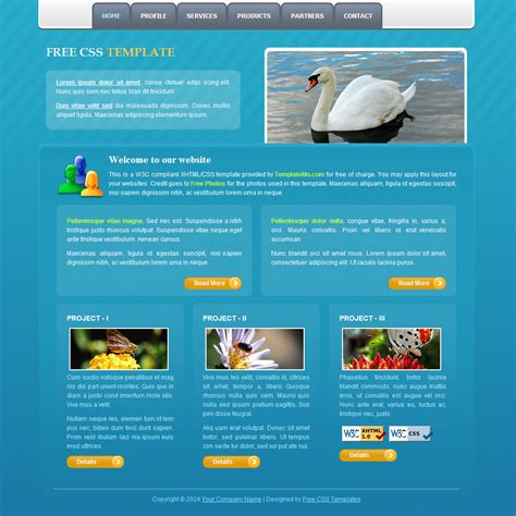 layout css w3c template 130 blue