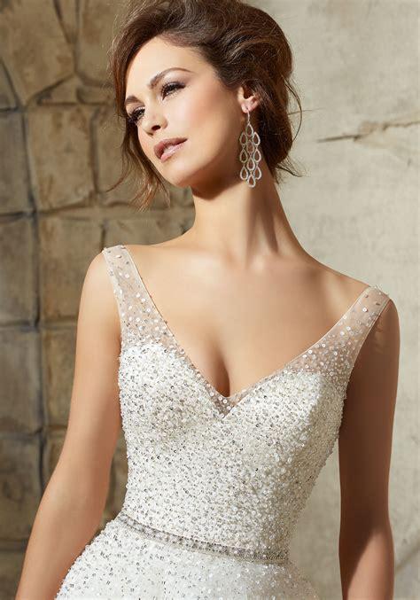 beading for wedding dresses tulle ball dress sprinkled with crystal beading morilee