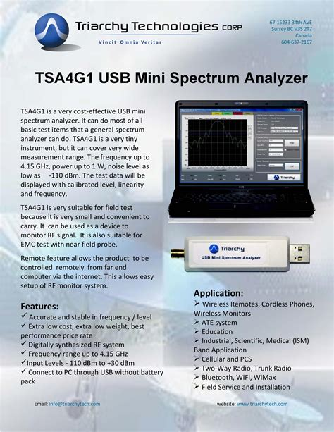 Usb Rf Spectrum Analyzer 815 Ghz Tsa8g1 By Triarchy Technologies usb rf spectrum analyzer 4 15 ghz tsa4g1 by triarchy technologies ebay