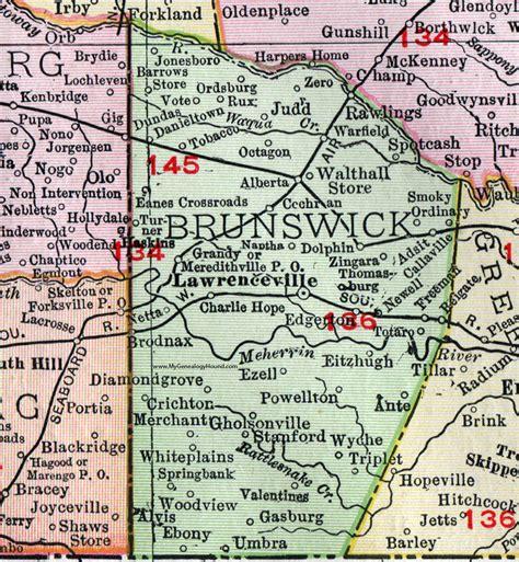 Brunswick County Records Brunswick County Virginia Map 1911 Rand Mcnally Lawrenceville Alberta Brodnax