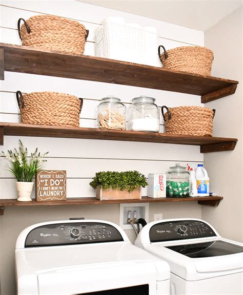 laundry room shelves laundry room shiplap and diy wood shelves easy tutorial