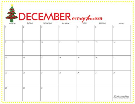 free printable december 2014 calendar by shining mom