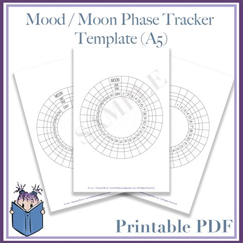 free printable mood journal mood and moon phase tracker template pdf a5 bullet