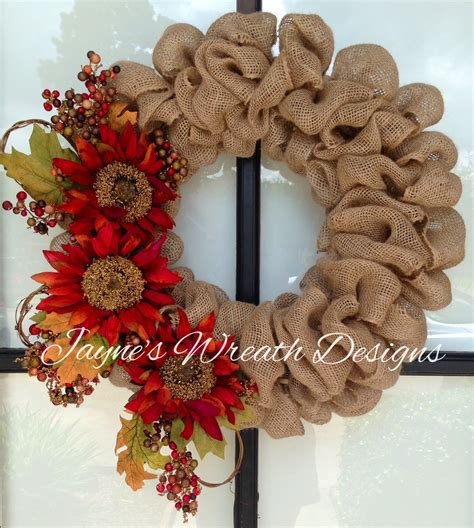 wreath ideas fall burlap wreath with sunflowers diy pinterest