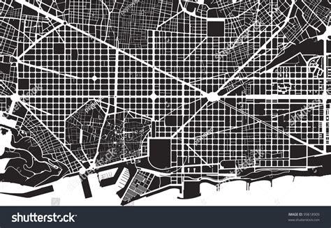 urban pattern vector part urban plan city barcelona black stock illustration