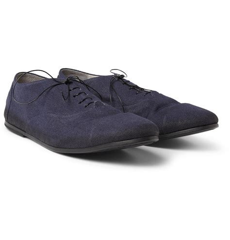 leather oxford shoes marsell canvas and leather oxford shoes in blue for lyst