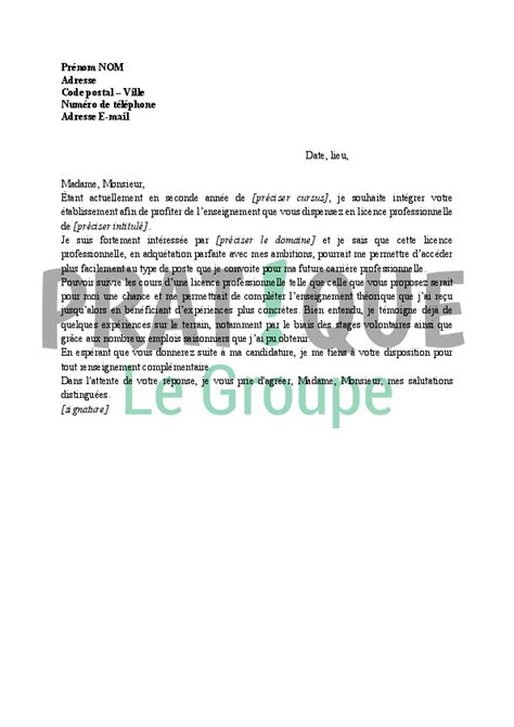Exemple De Lettre De Motivation Université Licence Une Lettre De Motivation Pour Une Licence Professionnelle Lettre De Motivation 2017