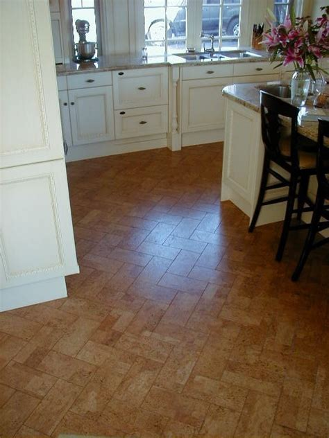 cork floor in herringbone pattern future kitchen remodel