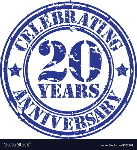 free rubber st celebrating 20 years anniversary grunge rubber st vector image