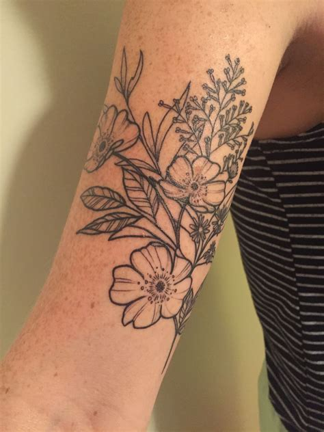 rose and thistle tattoo designs floral wildflower arm with aster
