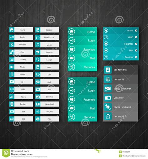 design navigation icon size flat web design elements buttons icons templates for