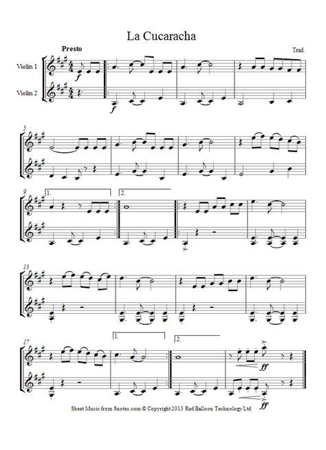 song duet la cucaracha mexico sheet for violin duet 8notes