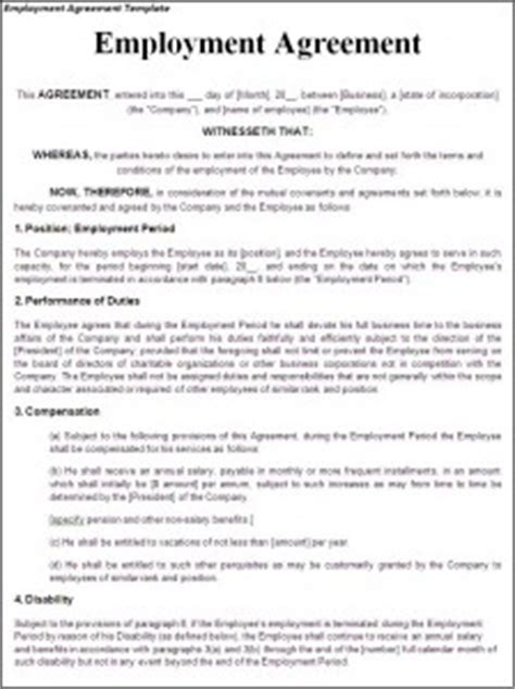 employment agreement template word excel templates