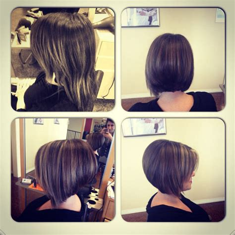drastic highlighted hair styles before and after angled bob angled bob with purple color