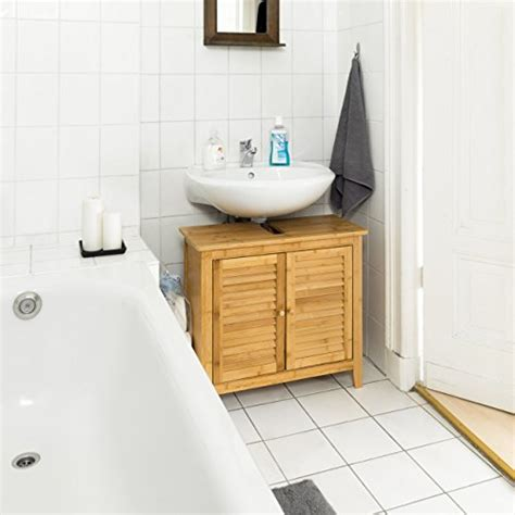 Badezimmer Unterschrank Lamellen by Relaxdays Waschbeckenunterschrank Lamell Aus Bambus H X B