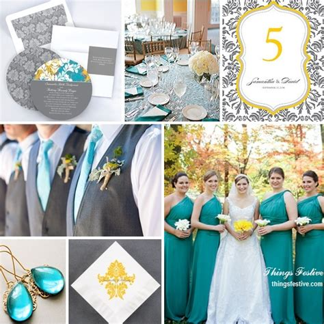 teal wedding colors teal yellow gray wedding color story things festive