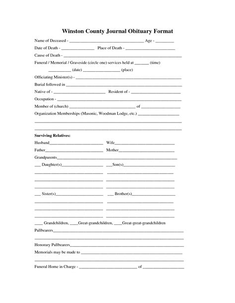 obituary outline template printable obituary template fill in the blank obituary