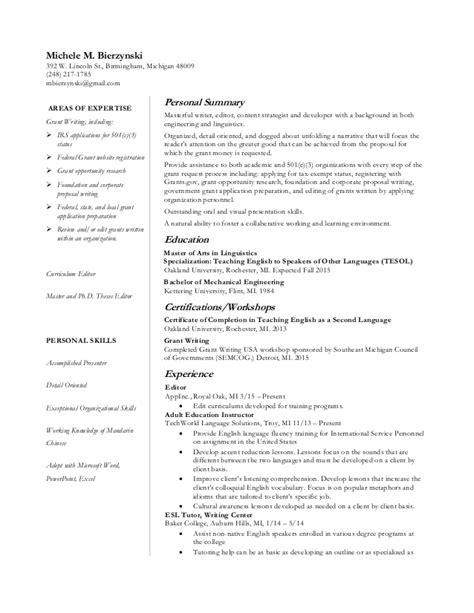 grant writer resume resume ideas