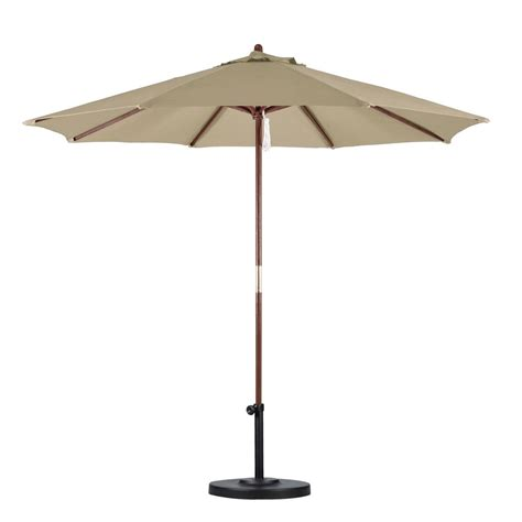 Wood Patio Umbrellas Hton Bay 9 Ft Wood Patio Umbrella In Brown 9939 01297802 The Home Depot
