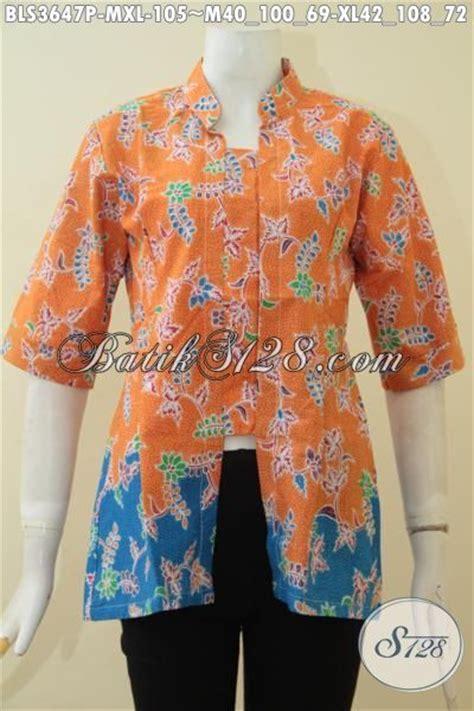 produk blus batik printing warna orange kombinasi biru