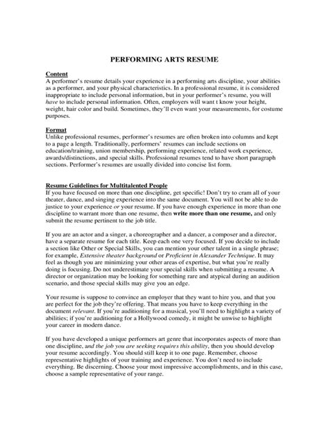 Performing Arts Resume by Performing Arts Resume Edit Fill Sign Handypdf