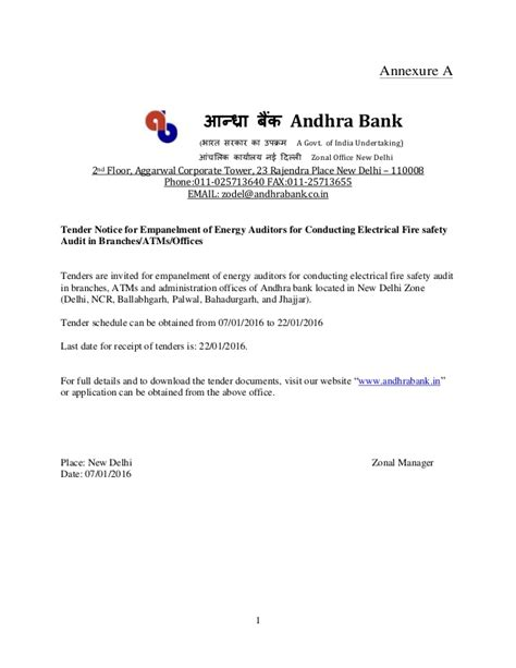 Bank Letter Mai Andhra Bank Safety And Energy Audit New Delhi Zone