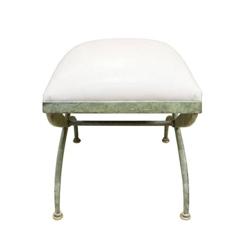 wrought iron bench seat verdigris wrought iron bench with leather seat 1970s for sale at 1stdibs