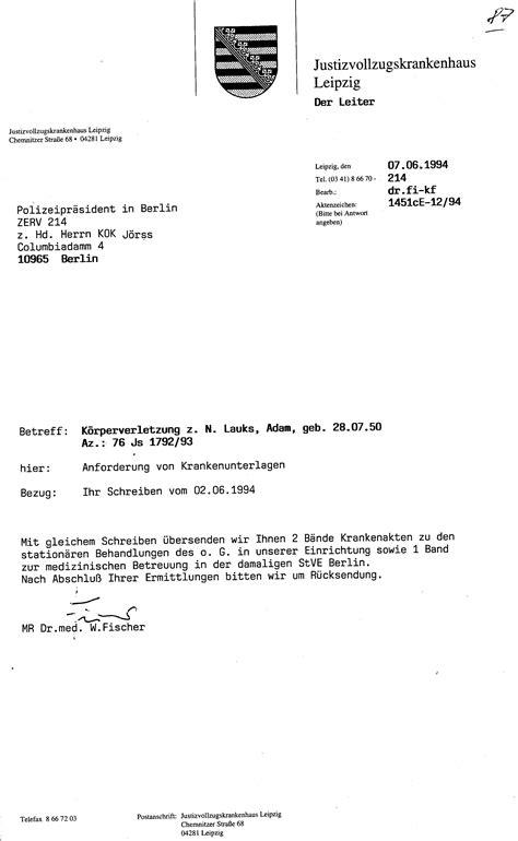 Schreiben Gericht Muster 30 Js 1792 93 Ermittlungsverfahren Der Staatsanwaltschaft Ii Bln 039
