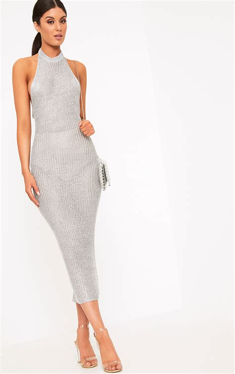 bomb product of the day pretty thing s faizah silver metallic halterneck midi dress