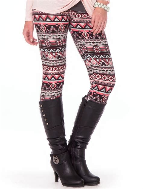 pink patterned leggings mint pink gray tribal legging affordable trendy and