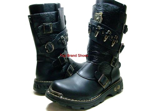 mens calf boots mens black calf high boots buckles bullets ebay