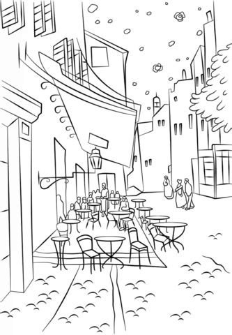 libro coloring book vincent van cafe terrace at night by vincent van gogh coloring page arte terapia colorear