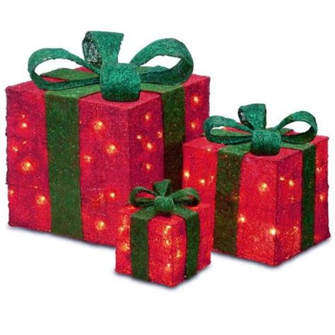 set of 3 sparkling red sisal gift boxes lighted christmas