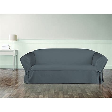twill sofa slipcover sure fit 174 essential twill sofa slipcover bed bath beyond