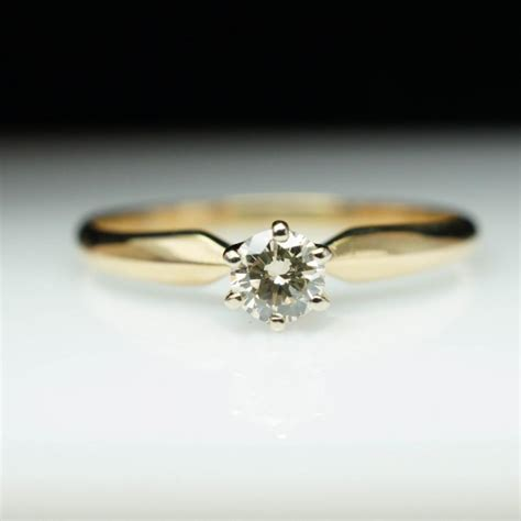 vintage solitare engagement ring 14k yellow
