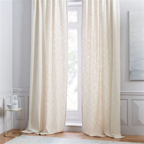 white textured curtains cotton textured weave curtain stone white west elm