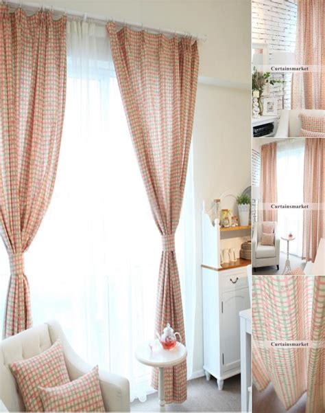 curtains long drop country curtains long drop of plaid checks in green and pink
