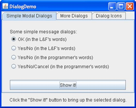 tutorial java joptionpane how to make dialogs the java tutorials gt creating a gui