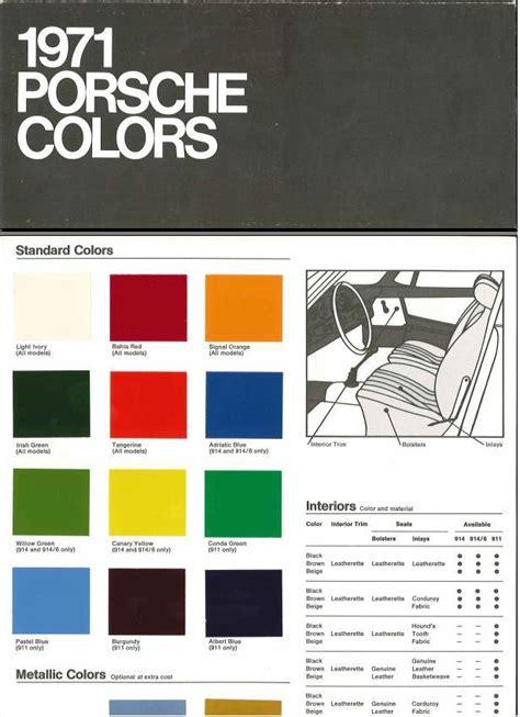 Porsche 911 Farben by Color Chart 1971 Usa Origineel Publiciteitsmateriaal 2