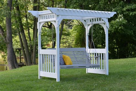 100 Swing Bench Backyard Landscaping With Rocks And Antique White Wooden Pergola For