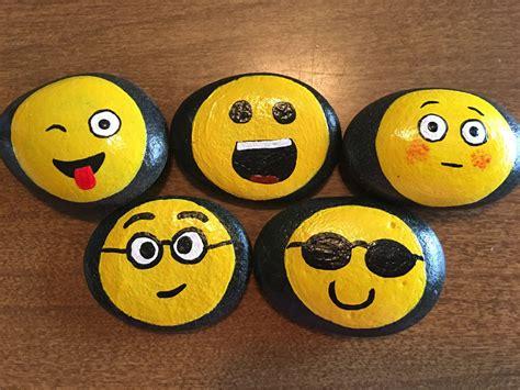 paint emoji emoji faces painted on rocks 8pr by godsglitter on