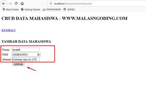 membuat crud dengan php dan sql server membuat crud dengan php dan mysqli input data malas