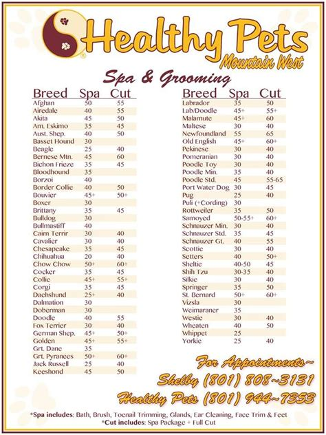 Our Menu Of Spa And Grooming Services Healthy Pets Grooming Pinterest Spas Grooming Price List Template