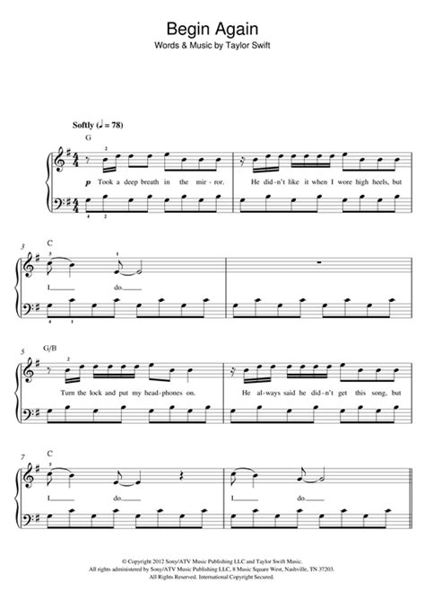 begin again taylor swift easy chords taylor swift begin again sheet music
