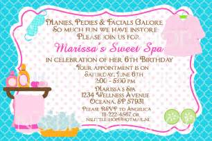 spa birthday invitation card customize by nslittleshop