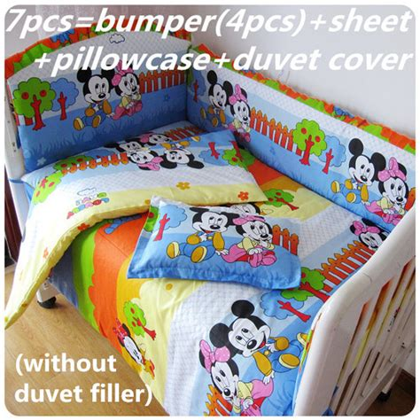 Mickey Mouse Cot Bumper Bedding Sets Promotion 6 7pcs Mickey Mouse Baby Bedding Set Curtain Crib Bumper Baby Cot Sets Baby Bed Sheet
