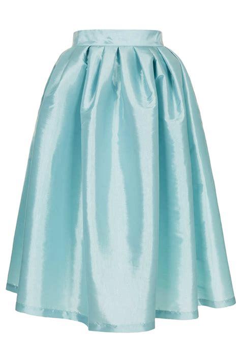 topshop pale blue taffeta skirt in blue lyst