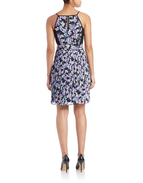 jessica simpson floral dress lyst jessica simpson floral print pleated dress in purple