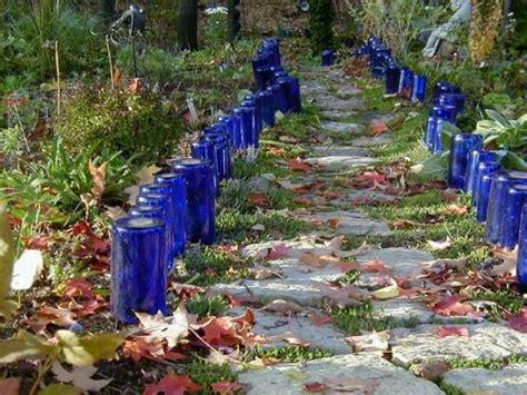 sparkly wine bottle garden edging flea market gardening