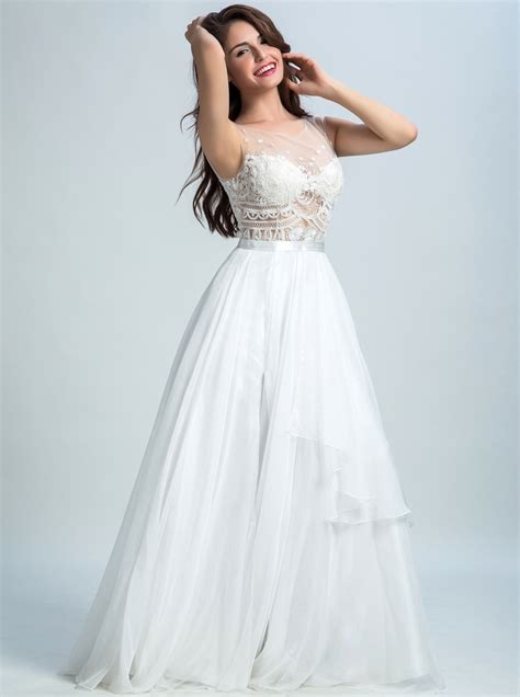 glamorous   scoop floor length chiffon backless long